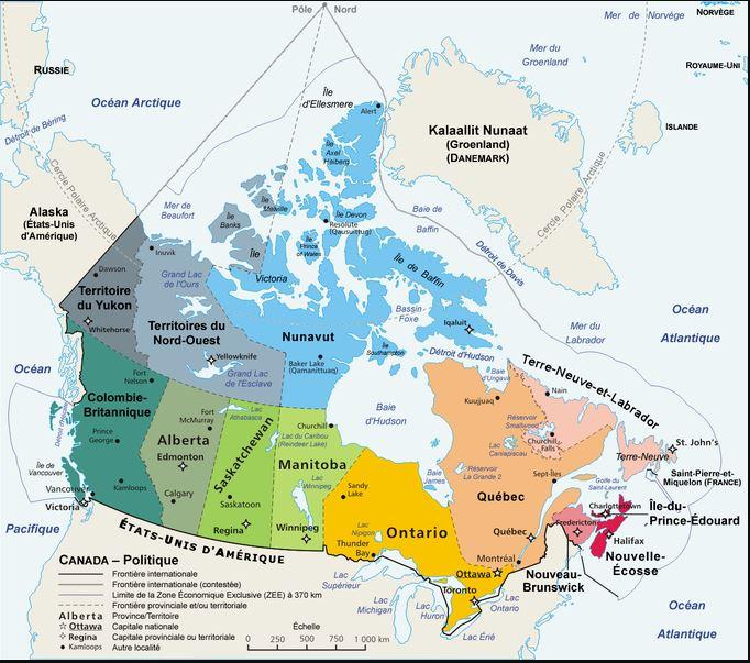 Carte administrative Canada